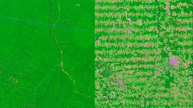 The state of  in western Brazil. Left from 1975 and right from 2012. Photo credit: NASA