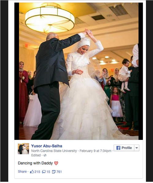 Yusor dances with her father during her wedding / Facebook