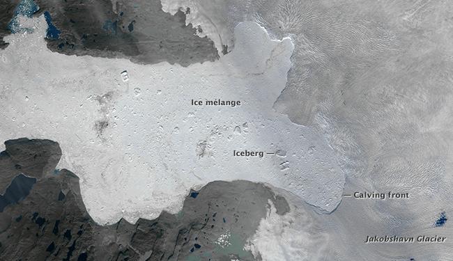 The same glacier on August 16, 2015. Photo credit: NASA