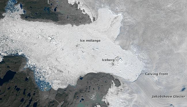 The Jakobshavn Glacier on July 31, 2015. Photo credit: NASA