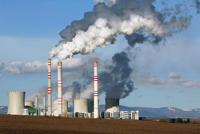 view of smoking coal power plant