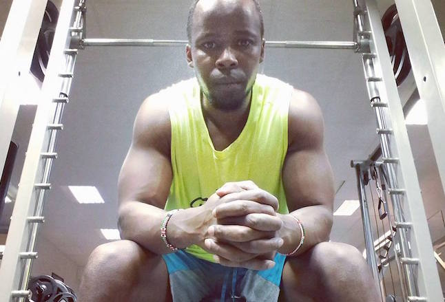 Vegan activist Toto Wajne at the gym.  Photo credit: Toto Wanje Facebook page