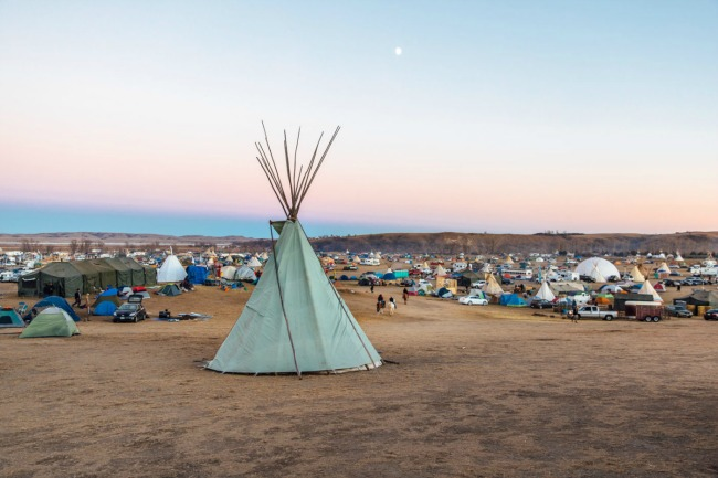 A tepee overlooks Oceti Sakowin Camp, Standing Rock Reservation, North Dakota. Photo: Colin McCarthy