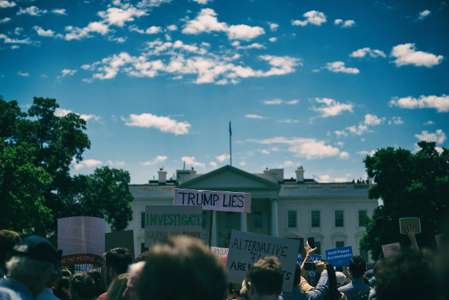 Protesters outside the White House.