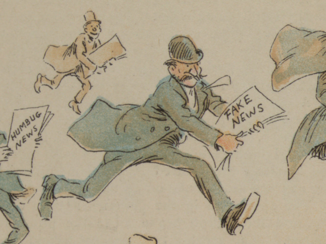 A vintage drawing of newsboys running around with papers labeled FAKE NEWS