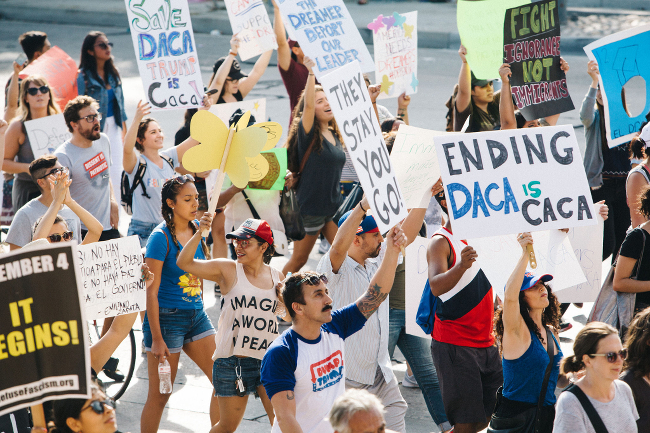 Proteters defending DACA at a march in Los Angeles.