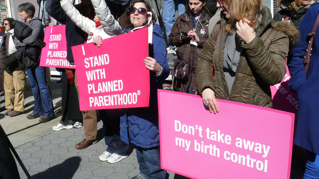 Women protesting cuts to planned parenthood