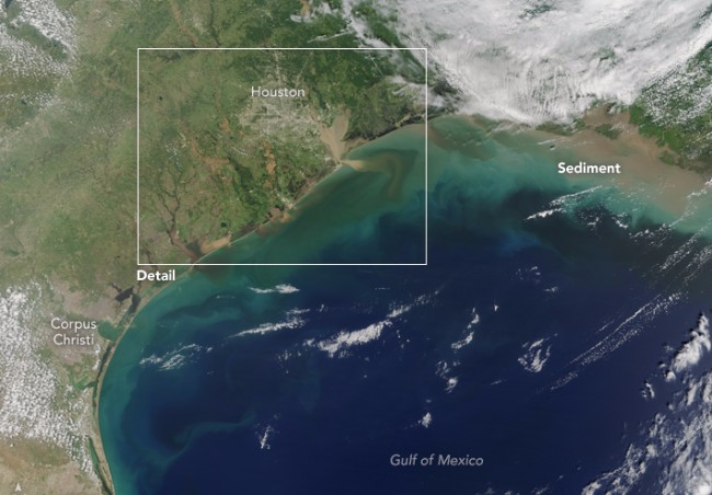 Aerial photo from NASA taken Aug 31, 2017, showing heavily sedimented freshwater flowing into the Gulf of Mexico.  Photo credit: NASA