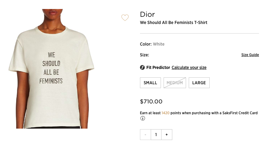 """Dior is selling """"We Should All Be Feminists"""" shirts for $710"""