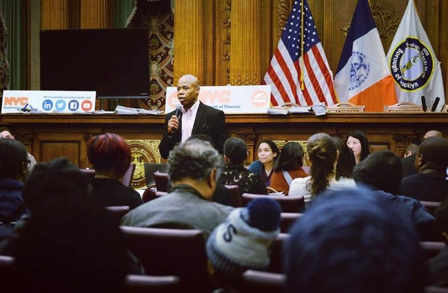 Brooklyn Borough President Eric Adams speaking in Brooklyn  Borough Hall.  Photo credit: Eric Adams Facebook page