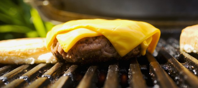cheeseburger on grill