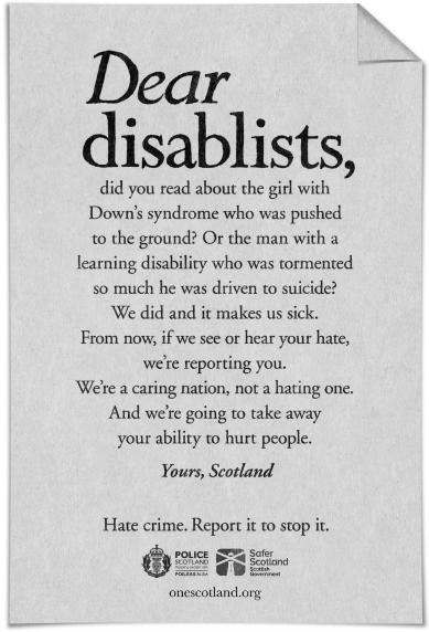 Anti-disablism campaign. Credit: One Scotland.