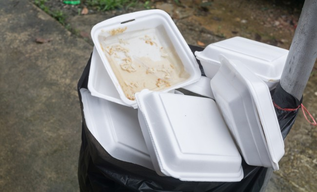 styrofoam containers in the trash
