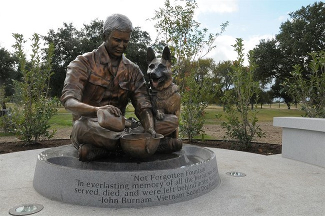 Not Forgotten Fountain at the US Military Working Dog Teams National Monument in Texas the
