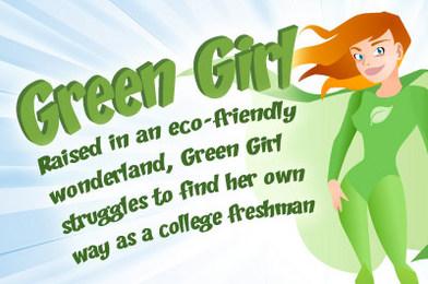 Green Girl Fluffs Out Bedding