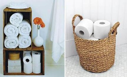Bathroom: Low-Tech Toilet Roll Holders