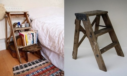 Amazing DIY: Vintage Step Ladder As Bedside Table