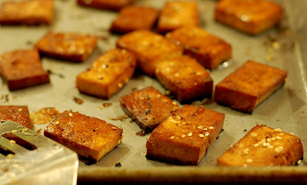 Baked Ginger-Soy Tofu Squares