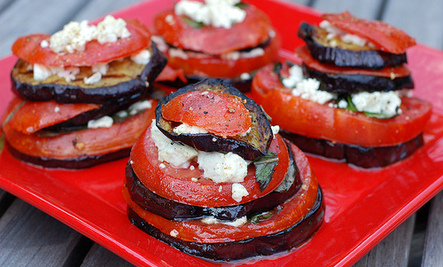Grilled Eggplant Stacks With Tomato, Feta  Basil Care2 Healthy