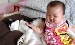 Kitty and Baby Kick Back and Relax (Video)