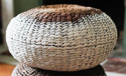 Easy Hand-Painted Wicker Poufs