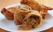 Vegetarian Eggrolls with Delicious Peanut Sauce