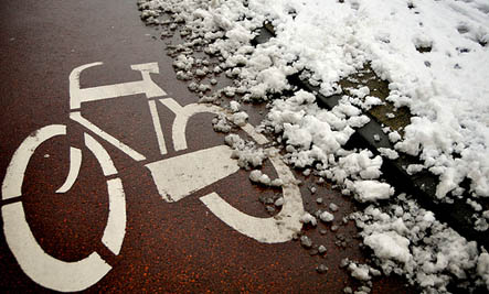 snowy bike lane