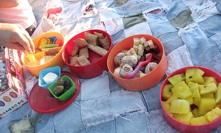 picnic on a denim quilt