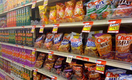 chip aisle at the grocery store