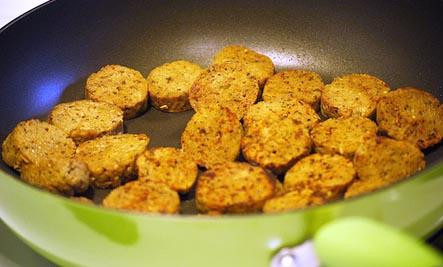 cooking vegan sausage