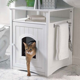 Cat Boxes from Solutions Catalogue double as Kitty Washroom Furniture