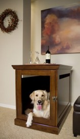 This attractive Dog crate by Denhaus Dog Furniture serves as an end table and a comfortable space for your pet to be.