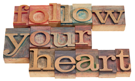 """Follow your heart"" spelled out in wooden blocks"