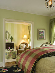 A pastel sage green is also a good calming color for bedrooms. Add some fire along with earth tones in beddings, furniture and accessorie
