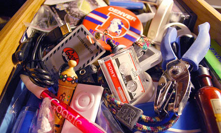 clutter in a junk drawer