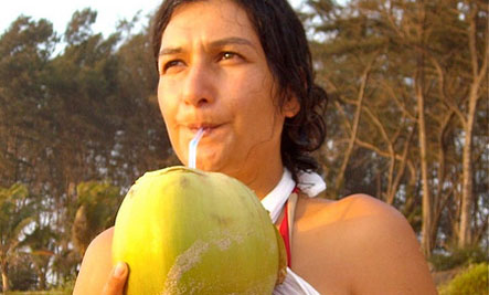 Shanti enjoying coconut water