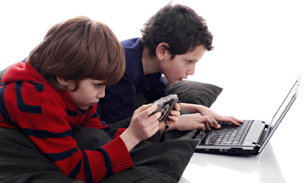 Boys using media technology