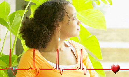 Women with Heartbeat graph