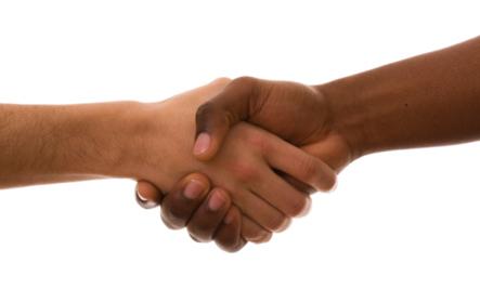 Mildred & Perry Loving - handshake - black white hand