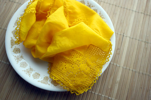 vintage handkerchief dyed yellow with natural turmeric fabric dye