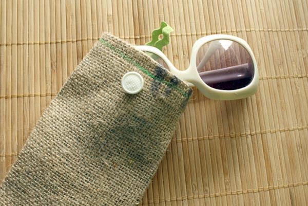 burlap sunglasses case
