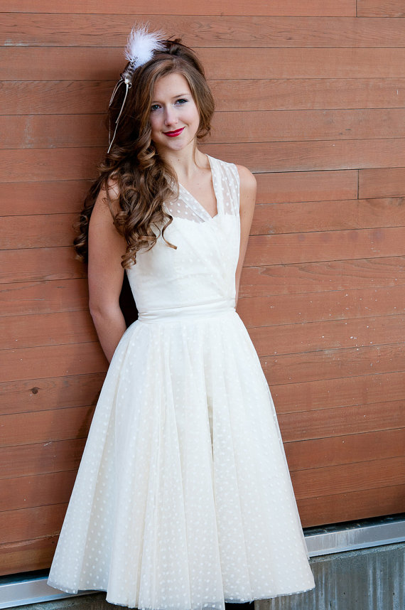 vintage style polka-dot wedding dress