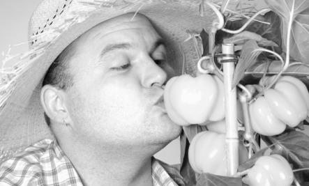 man kissing plants