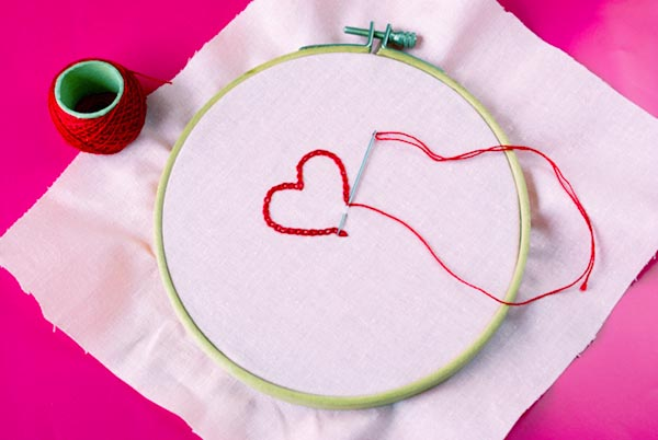 craft supplies heart embroidery