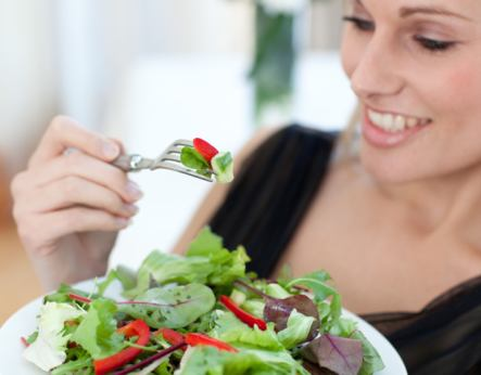 healthy woman eating salad Real Food For Life BootCamp