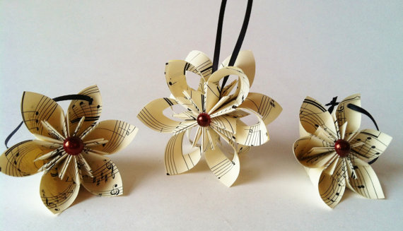 three sheet music ornaments from danas paper flowers - Flower Christmas Ornaments