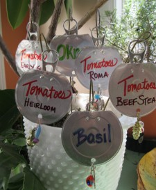 Green Diva Mizar's DIY Garden Markers from Cat Food Lids