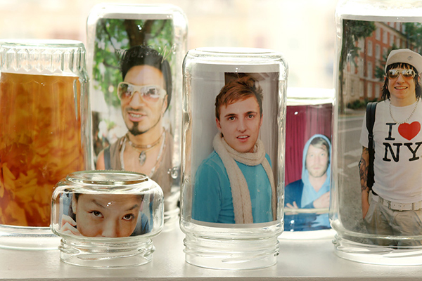 glass jar photo frames