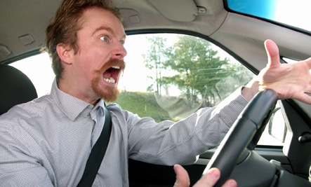 Angry man stuck in traffic