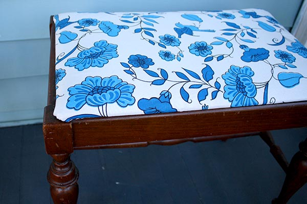 reupholster an ottoman for Earth Month